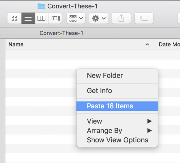 Paste items into Convert-These folder