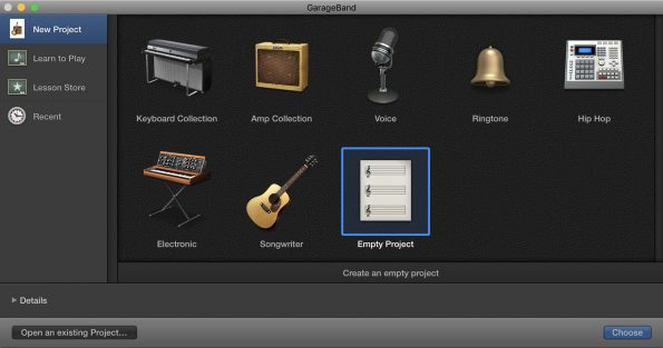GarageBand New Project Menu