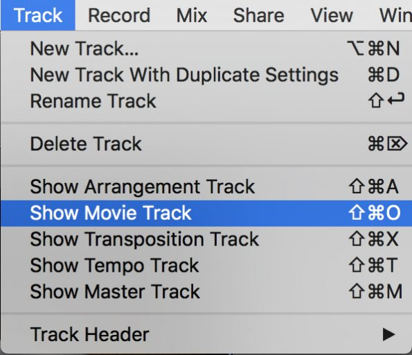 GarageBand Show Movie Track menu