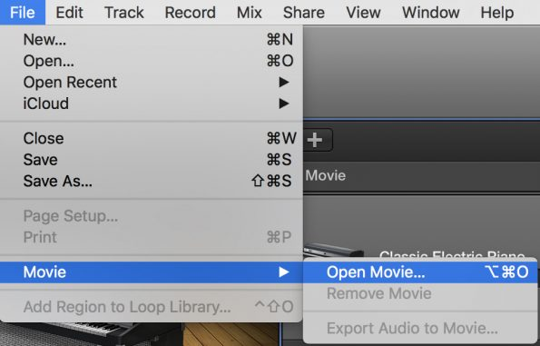 GarageBand Open Movie menu